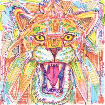 lion roaring illustration