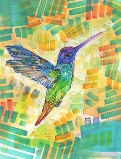rainbow hummingbird painting by queer artist Gwenn Seemel