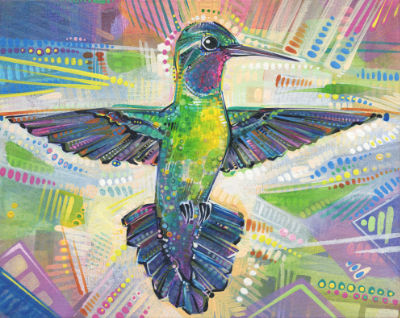 hummingbird artwork by Jersey artist Gwenn Seemel
