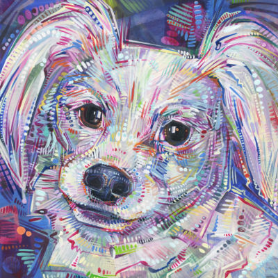 papillon dog portrait painting in acrylic