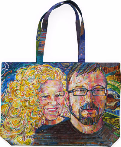 portrait of a young white couple painted directly on a canvas bag