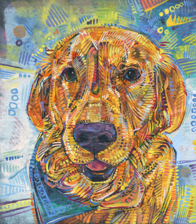 golden retriever painting by dog portraitist Gwenn Seemel