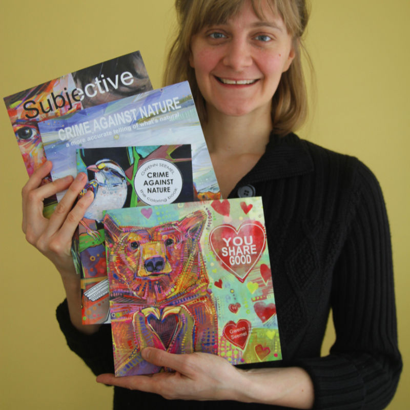 painter Gwenn Seemel with some of the books she has published