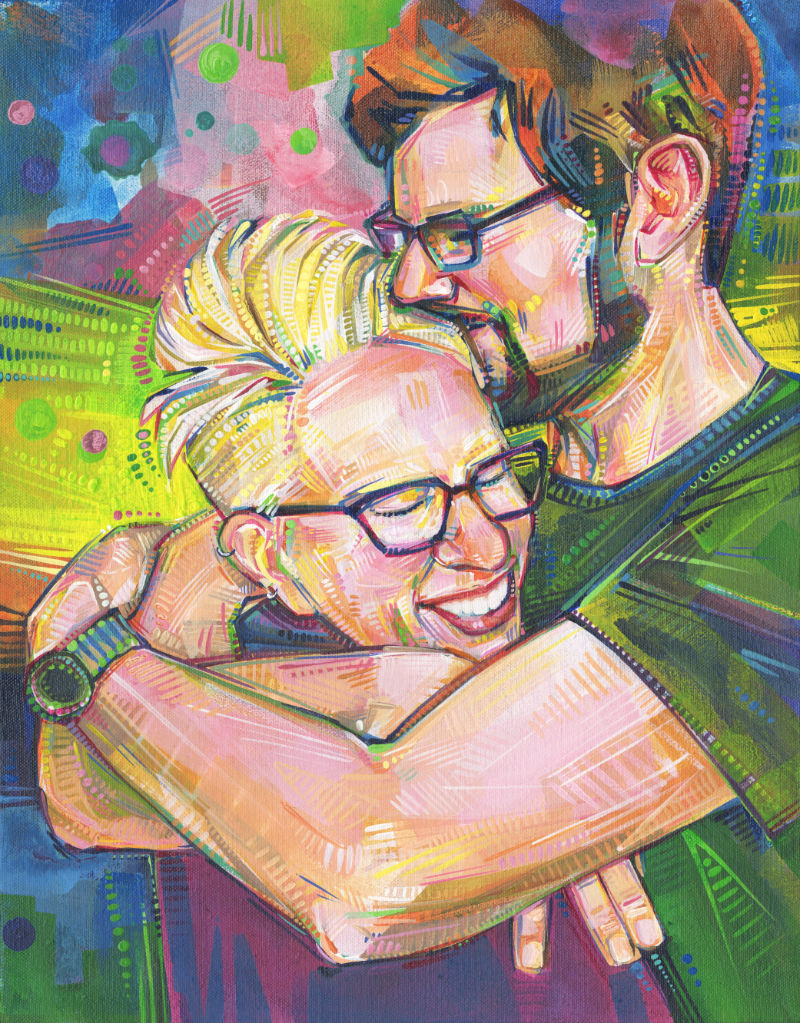 painted portrait of a loving couple