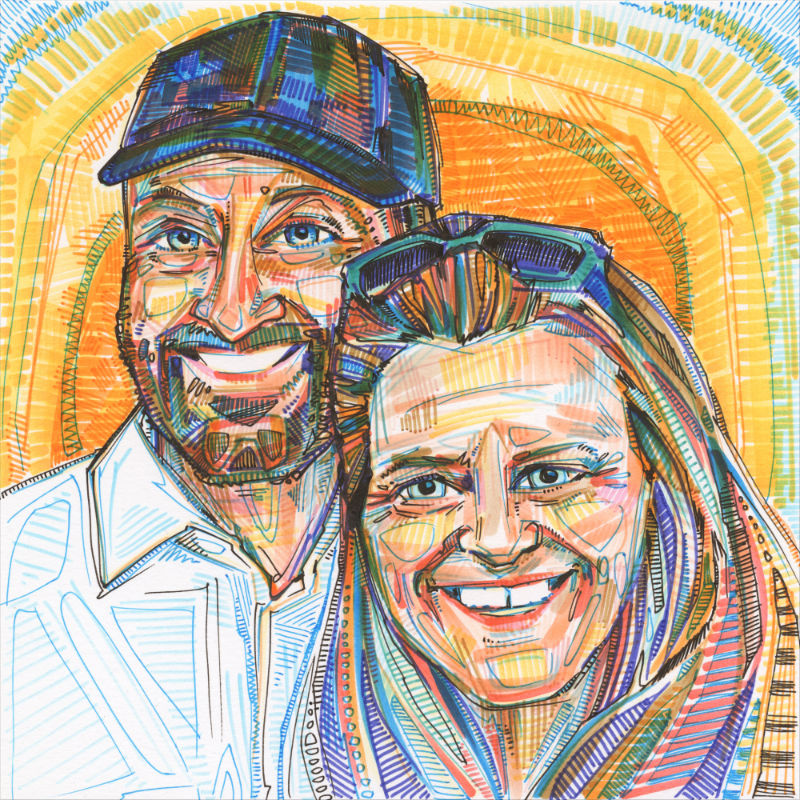 double portrait of a white man with a hat and a white woman, both smiling