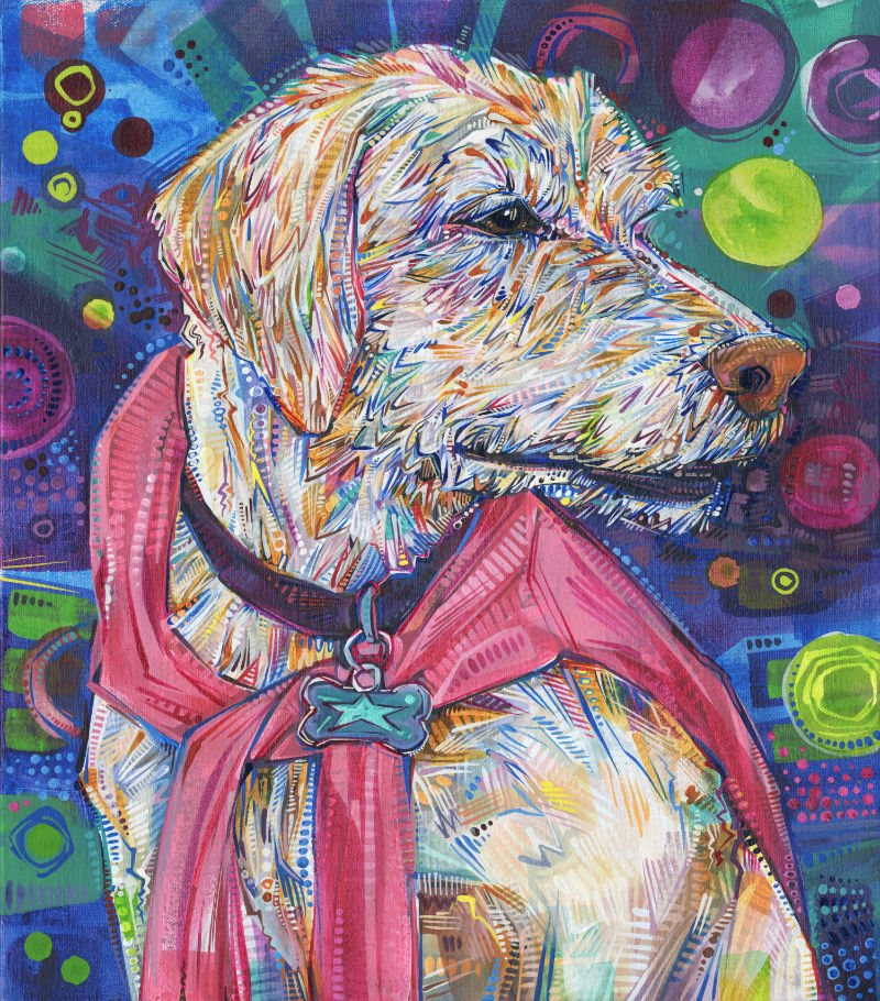 a colorful crosshatched painting of a beige dog wearing a pink human shirt as a cape