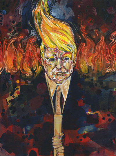 portrait of Trump as a tiki torch, anti-Trump art for sale