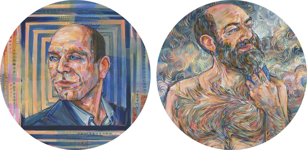 two portraits of a hairy man, one in which he shaves and the other in which he doesn't
