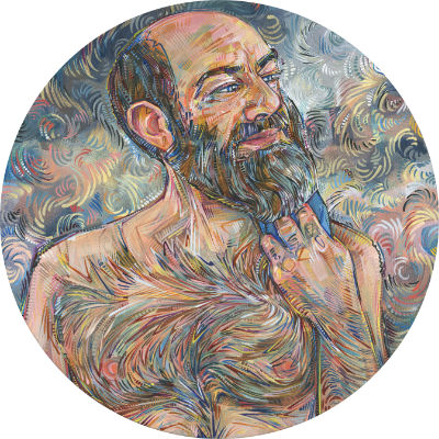 gloriously hairy man, painted by his partner