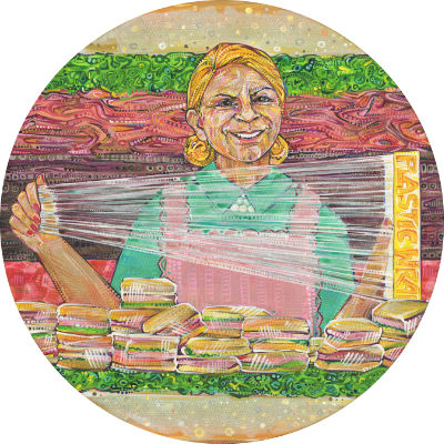 brown woman with died blond hair making sandwiches like a robot, artwork for sale