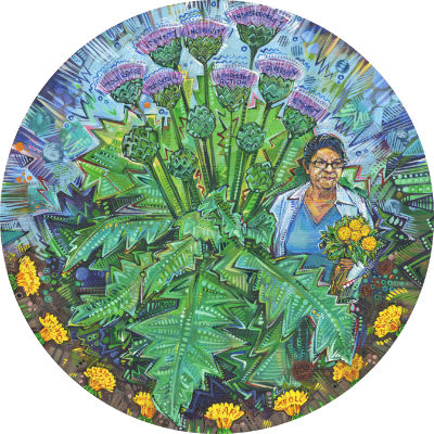 woman weeding the hate out her garden, painted by Gwenn Seemel