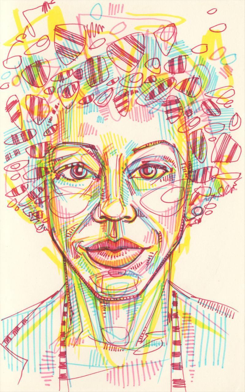 Amy Sherald portrait drawing