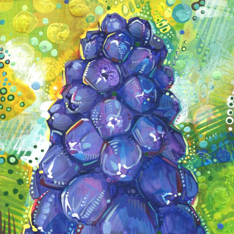 grape hyacinth flower painting