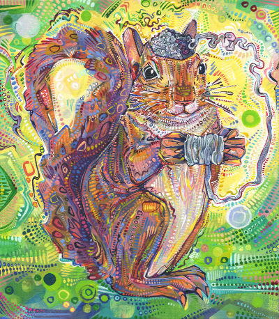 whimsical paintng of a squirrel unraveling her brain