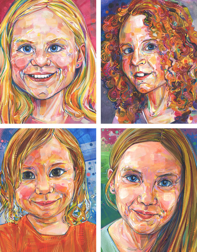 paintings of four girl cousins commissioned by their grandmother