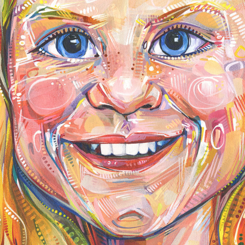 painting of a smiling white girl with white-blonde hair