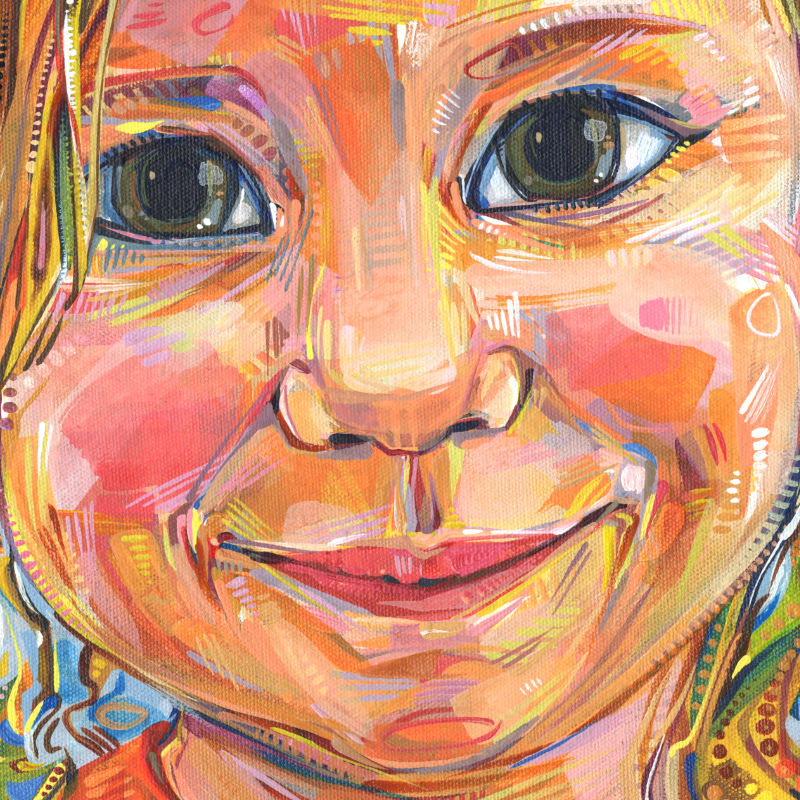 painting of a smiling toddler girl with a mischievous expression