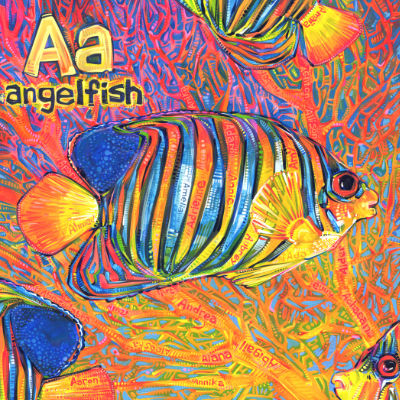 A is for angelfish, illustration pour un livre d'alphabet anglophone