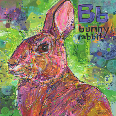 B is for bunny rabbit, art pour un livre d'alphabet anglophone