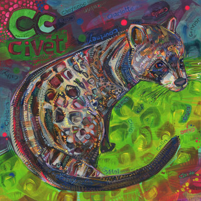 C is for civet, alphabet image pour un livre d'alphabet anglophone