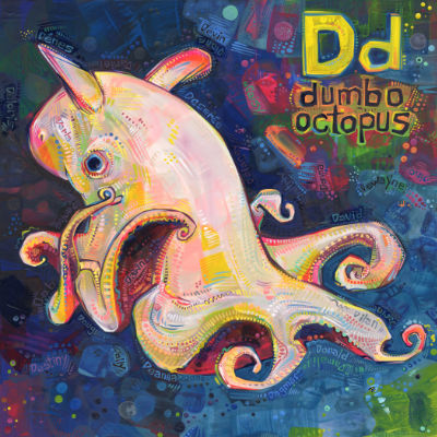 D is for dumbo octopus, illustration pour un livre d'alphabet anglophone