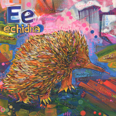 E is for echidna, illustration pour un livre d'alphabet anglophone