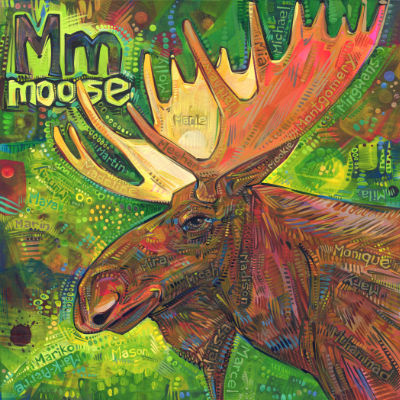 M is for moose, illustration pour un livre d'alphabet anglophone