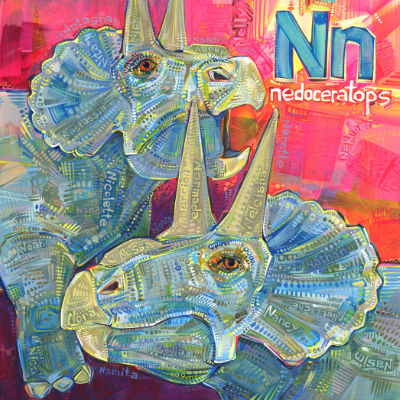 N is for nedoceratops, illustration pour un livre d'alphabet anglophone