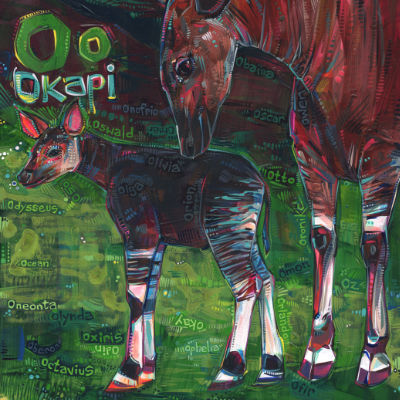 O is for okapi, art pour un livre d'alphabet anglophone