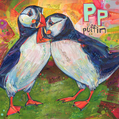 P is for puffin, illustration pour un livre d'alphabet anglophone