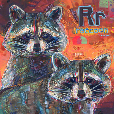 R is for raccoon, art pour un livre d'alphabet anglophone