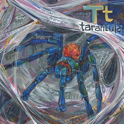 T is for tarantula, art pour un livre d'alphabet anglophone