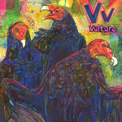 V is for vulture, art pour un livre d'alphabet anglophone