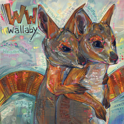 W is for wallaby, image pour un livre d'alphabet anglophone