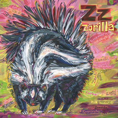 Z is for zorilla, art pour un livre d'alphabet anglophone