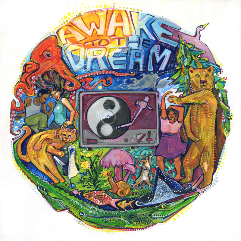 album art with a world of animals, plants, and people dancing around a yin and yang symbol