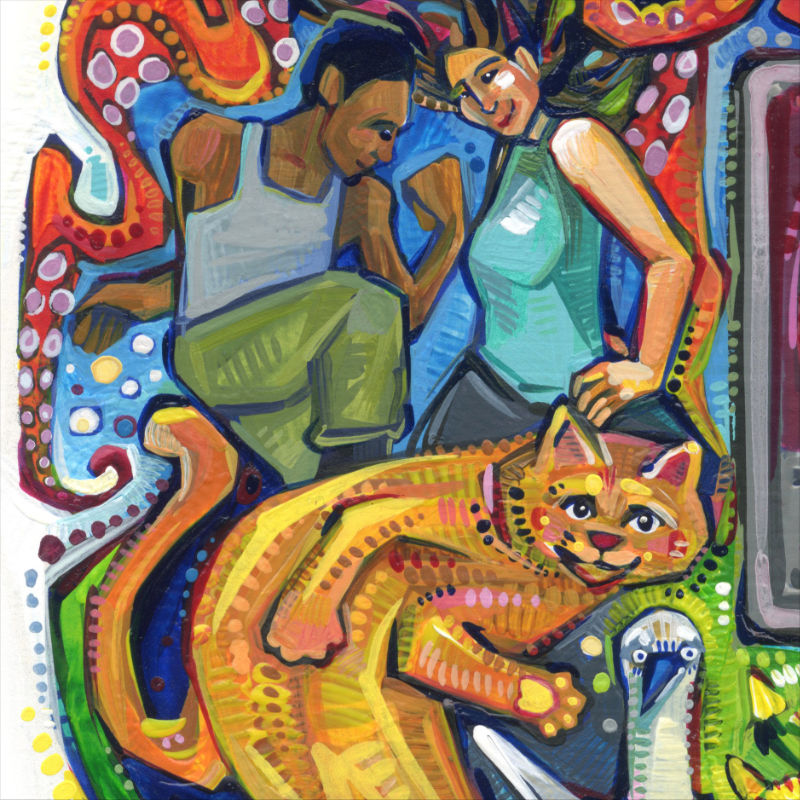 two people and a cat dancing, painting by Gwenn Seemel