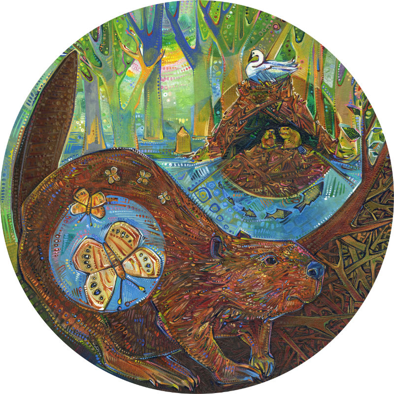 yin and yang of beaver ecosystems, painted in acrylic by Gwenn Seemel