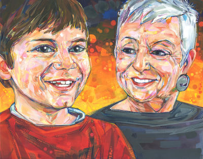 fine art portrait of a boy with his grandmother