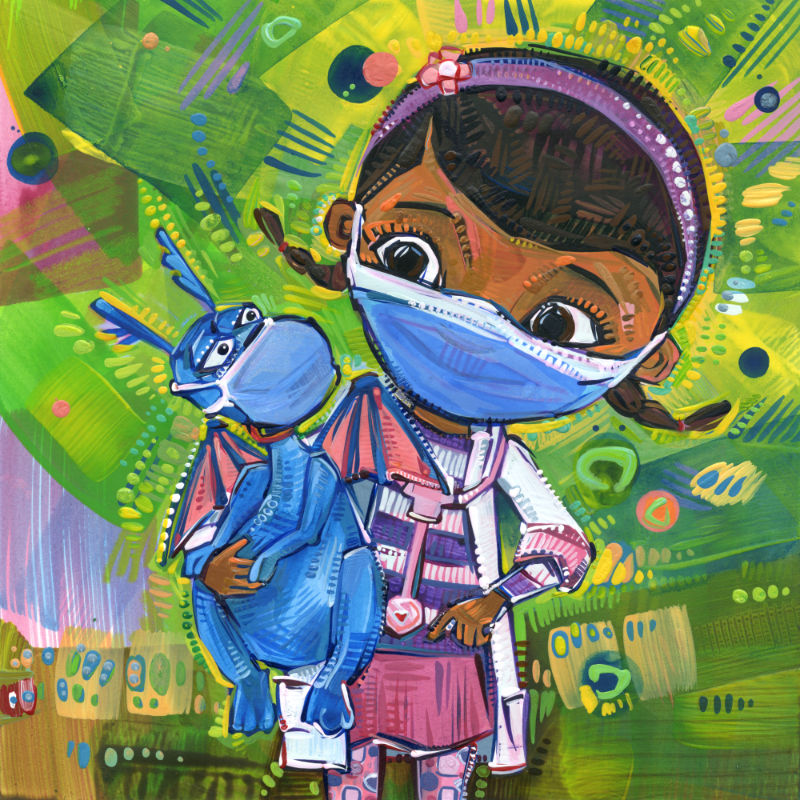 mixed media Doc McStuffins fan art of Dottie and her blue dragon wearing face coverings because of the pandemic