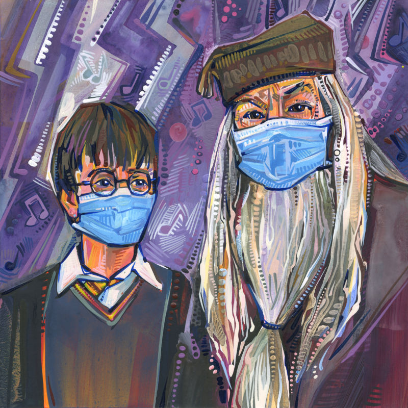 mixed media Harry Potter fan art for the pandemic, Albus Dumbledore and Harry