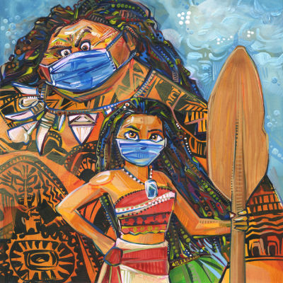 Moana and Maui wearing masks for COVID