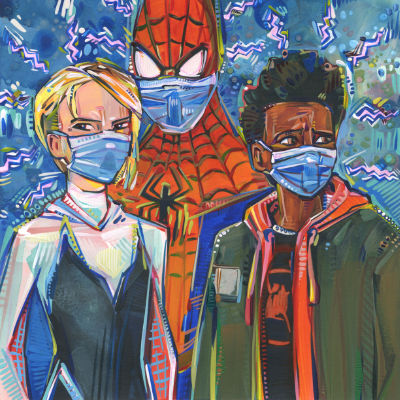 Spidervers characters during a pandemic