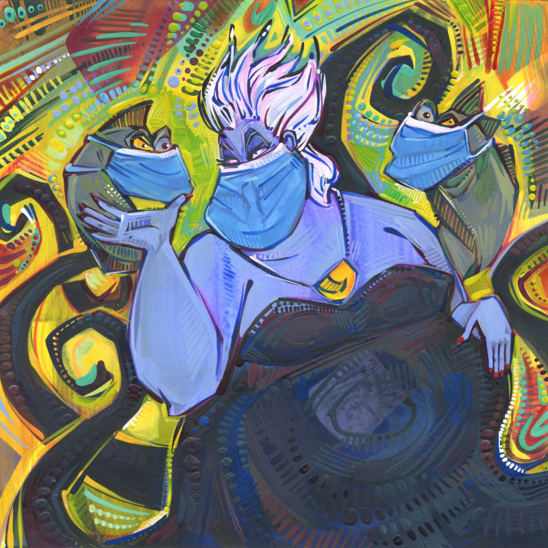 fan art of Ursula the seawitch wearing a blue surgical mask, painted by American artist Gwenn Seemel