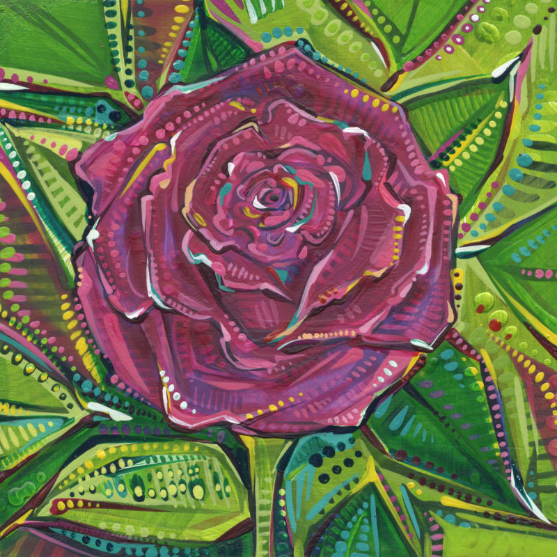 red rose with a green leaf design painted in acrylic on wood