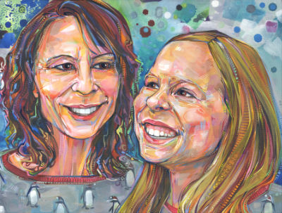 fine art commissioned portrait of a woman and her tween daughter