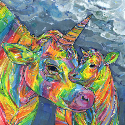 rainbow unicow mom and baby painted by queer artist Gwenn Seemel