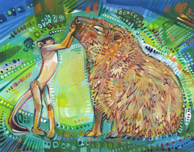 unlikely animal friendship art for sale