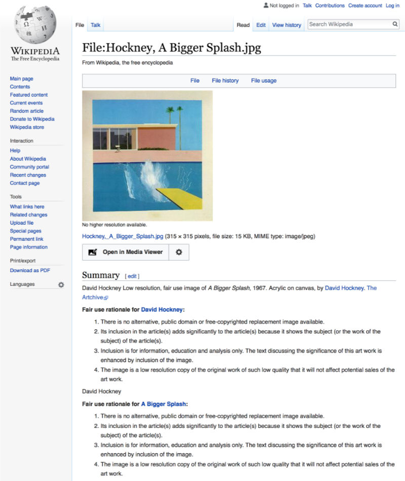 screenshot of Wikipedia