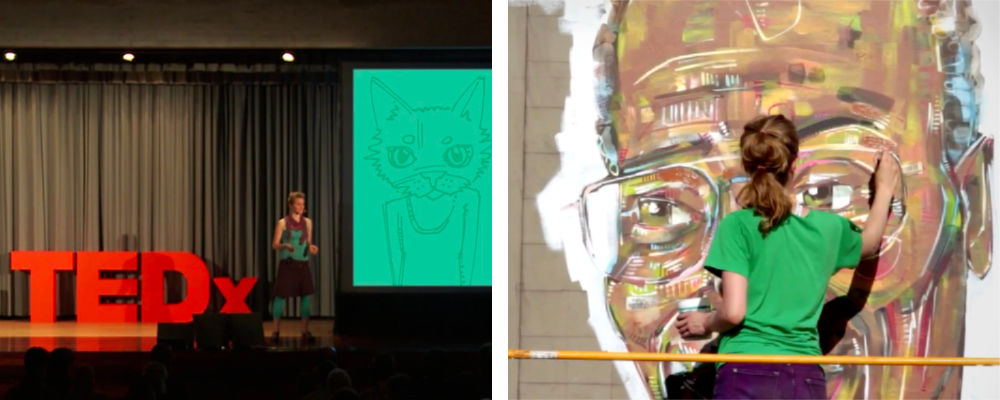 French-American artist and free culture advocate Gwenn Seemel at TEDxGeneva and working on the Kirk Reeves mural in Portland, Oregon